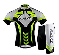 FJQXZ Men's Short Sleeve Cycling Jersey + Shorts 3D Slim Cut Summer UV Resistant Cycling Suit - Black + Green + White