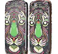 frais motif tribal de tigre de style magnétique vertical étui en cuir flip pour iphone 6