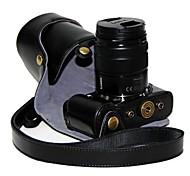 cámara protectora de cuero dengpin® cubierta de la bolsa caso con correa para el hombro para gf6 lumix panasonic 45-150mm lente de largo