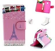 Pink Tower Pattern PU Leather Case and Mini Display Stand with Diamond Dust Plug for Samsung Galaxy S5 Mini