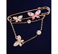Fashion Butterfly Imitation Diamond Gold Plated Brooch for Women In Jewelry