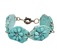 Women's Statement Turquoise Floral Stone Chain Cluster Fashion Stylish Bracelet