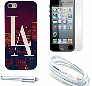 Las Vogue View Pattern Hard Case and Screen Protector and Stylus and Cable for iPhone 5/5S