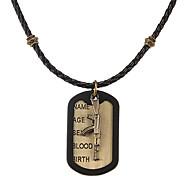 панк (снайпер медь тег) заплести черный кожаный кулон ожерелье для мужчин (1 шт)