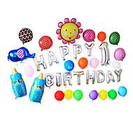 Sliver Happy Birthday Cartoon Blue Feeding-bottle Aluminium Membrane Baby Shower Balloon Set