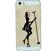 The Girl Playing The Guitar And Singing Pattern PC Hard Transparent Back Cover Case for iPhone 5/5S
