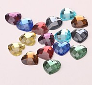 Z&X®  16MM 20 PCS DIY Colorful Heart Shaped Glass Flatback(Random Color)