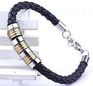 Men's Fashion Personality Titanium Steel Seven Leather Woven Bracelets