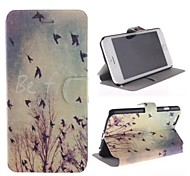 Bird Pattern PU Leather Cover with Stand for iPhone 6