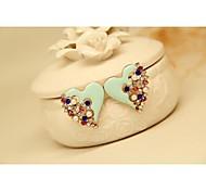 Fashion Korean Gold Plated Light Blue Peart Heart Earrings for Women in Jewelry