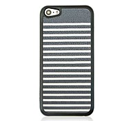 Black White Stripes  Leather Vein Pattern Hard Case for iPhone 5C
