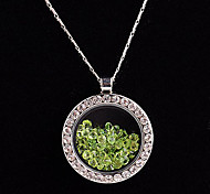 aleación redonda de cristal magnética verde rhinestone colgante medallón de estar flotando