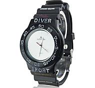 Coway Women's Round  White Dial Black Silicone Band Quartz Analog Wrist Watch