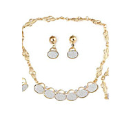 Fashionable Bags Combination Alloy Sets Necklace+Bracelet+Earrings+Ring Gold (1Set)