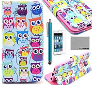 COCO FUN® Cute Owl Pattern PU Leather Full Body Case with Screen Protecter, Stand and Stylus for iPhone 6 6G 4.7