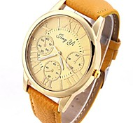 Women's False Three Disc Gold PU Leather Rome Character Quartz Watch