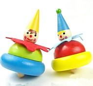 Wooden Painted Clowns Spinning Top Toy (Random Color)