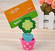 Flower Shaped Wooden Note Paper Clip (Random Color)