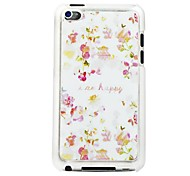 Pink Flower Leather Vein Pattern Hard Case for iPod touch 4