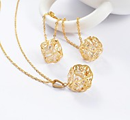 Beautiful Gold Titanium Steel Hollow Out Flower CZ Diamond Inside (Necklace&Earrings) Jewelry Set
