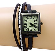 Women's Rectangle Dial Leather Band Quartz Analog Bracelet Watch (Assorted colors) Cool Watches Unique Watches