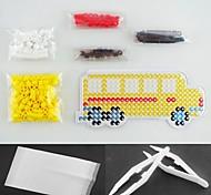 gelben Bus 5mm Bügelperlen-Set Hama Perlen DIY Puzzle (geeignet Farbe Perlen gesetzt + 1 + 1 pegboard Bügelpapier + 1 Pinzette)