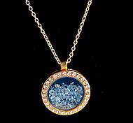 aleación redonda de cristal magnético luz flotante azul rhinestone medallón de estar pendiente
