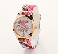 Women's Rose Printed Round Dial Floran Band Elegant Dress Watch C&D24