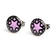 Fashion Black Ground Pin Stars Stainless Steel Stud Earrings