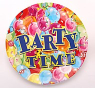 Coway 50pcs 7*7 Happy Party Birthday Party One-Time Plate Fruit Cake Paper Dish
