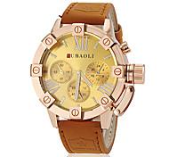 Herrenmode Gold khaki Lederband Quarz-Armbanduhr (farbig sortiert)