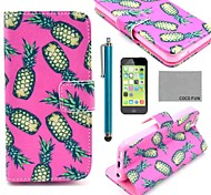 COCO FUN® Pineapple In Rose Pattern PU Leather Full Body Case with Screen Protector,Stylus and Stand for iPhone 5C