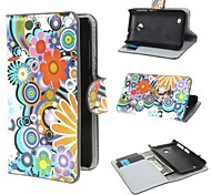 Flowers and Circles Pattern PU Leather Case Cover with Stand and Card Slot for Nokia Lumia 530