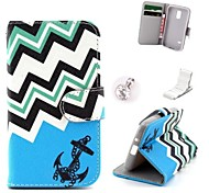 Blue Anchor Pattern PU Leather Case and Mini Display Stand with Diamond Dust Plug for Samsung Galaxy S5 Mini