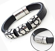 Personalized Gift Leather  Stainless Steel Jewelry  Engraved Bracelets