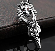 Fashion Wolf Man Silver Stainless Steel Rring