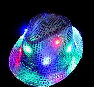 LED Dress Hat Novelty Multicolor Flash 35% Cotton and 65% Polyester DC 3V