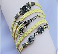 Vintage Owl Effieltower 24cm  Leather Wrap Bracelet(White,Black,Brown,Yellow)(1 Pc)