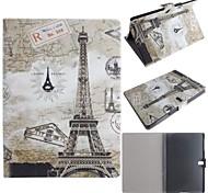 Karten und der Eiffelturm-Muster PU-Leder Ganzkörper-Fall mit Karte für Samsung Galaxy Tab 10.5 s t800