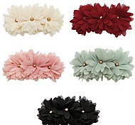 Three Daisy Flower Chiffon Pearl Barrettes