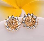 Mode Blume Gold stieg vergoldete Ohrstecker (goldenen) (1 Paar)