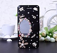 DIY Pearl Flowers and Makeup Mirror Pattern Leather Case with Stand for iPhone 6(Black)