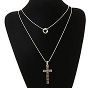 Fashion Cross Shape Double Chain Pendant Necklace(1 Pc)