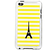 Yellow Striped Black Tower Leather Vein Pattern PC Hard Case for iPod touch 4