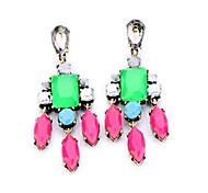 European Fashion Multi Color Crystal  Drops Earrings (1Pair)