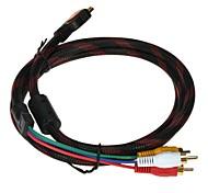 1.58m de 5 pies de alta definición HDMI a 3 cable macho cable adaptador convertidor adaptador rca para HDTV