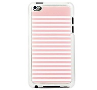 Pink and White Striped Leather Vein Pattern PC Hard Case for iPod touch 4