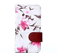 White Floral Pattern PU Leather Full Body Cover with Card Solt Cave for Nokia Lumia 630