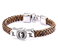 Punk Style Dead Note L Brown Leather Bracelet(1 Pc)