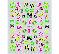 1pcs carino lettere inglesi autoadesivi di arte del chiodo multicolore